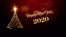 Christmas tree with happy new year wishing for year 2020 in red