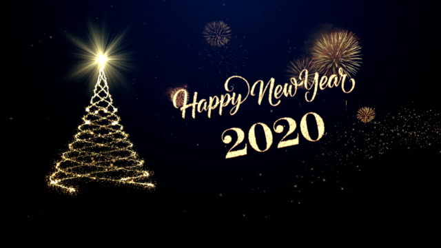 christmas tree with happy new year wishing for year 2020 - new year's eve stock videos & royalty-free footage
