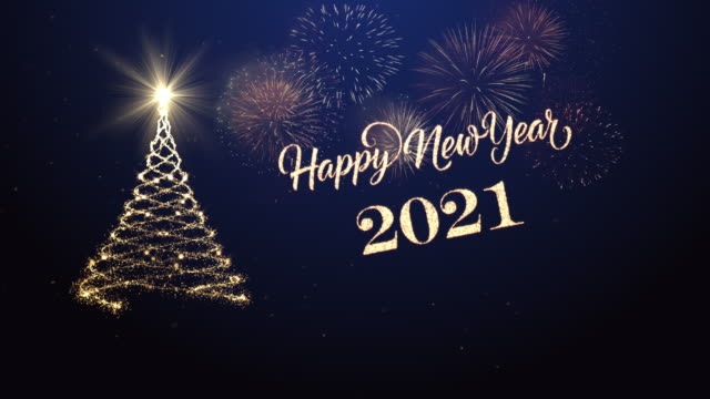 christmas tree with happy new year wishing for year 2021 - new year's eve stock videos & royalty-free footage