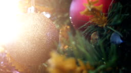 PAN Christmas tree with ornaments and defocused lights