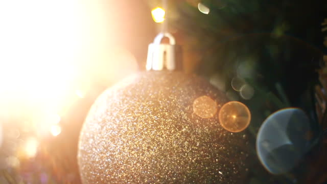 Christmas tree with ornaments and defocused lights