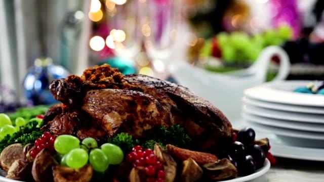 christmas turkey dinner - roast turkey stock videos & royalty-free footage