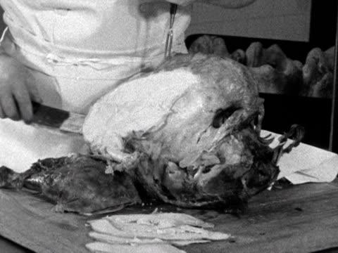 a christmas turkey is carved - roast turkey stock videos & royalty-free footage