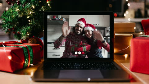 christmas video call on a laptop screen at home - vacations stock videos & royalty-free footage