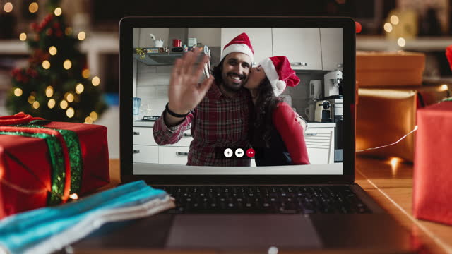 christmas video call on a laptop screen at home - live broadcast stock videos & royalty-free footage