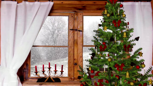 christmas window view of snowy woods - window frame stock videos and b-roll footage