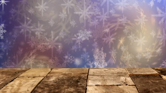 Christmas, Winter background of snowflakes, stars and holiday lights.