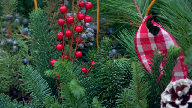 ベリーのクリスマスリース - ティンセル点の映像素材/bロール
