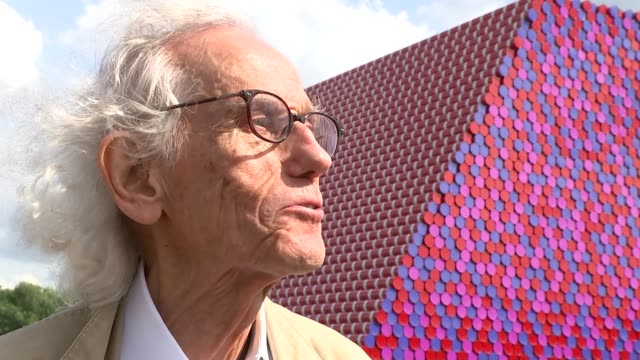 christo brings giant new sculpture to the serpentine lake christo interview sot close shot london mastaba sculpture - the serpentine london stock videos & royalty-free footage