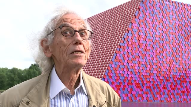 christo brings giant new sculpture to the serpentine lake england london hyde park the serpentine ext christo interview sot - the serpentine london stock videos & royalty-free footage