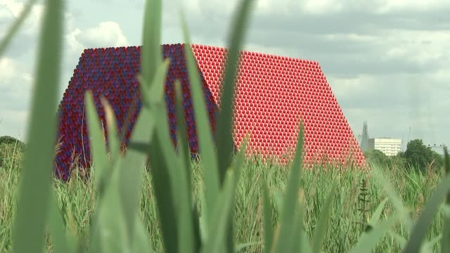 christo brings giant new sculpture to the serpentine lake uk london hyde park the serpentine the london mastaba sculpture christo interview **christo... - the serpentine london stock videos & royalty-free footage