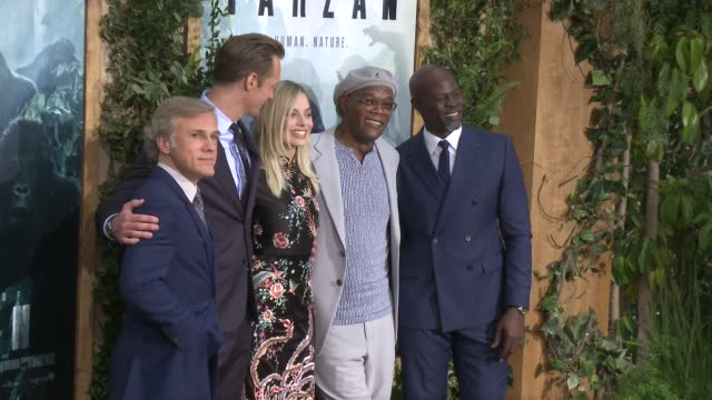 Christoph Waltz Alexander Skarsgard Margot Robbie Samuel L Jackson Djimon Hounsou at Premiere Of Warner Bros Pictures' The Legend Of Tarzan in Los...