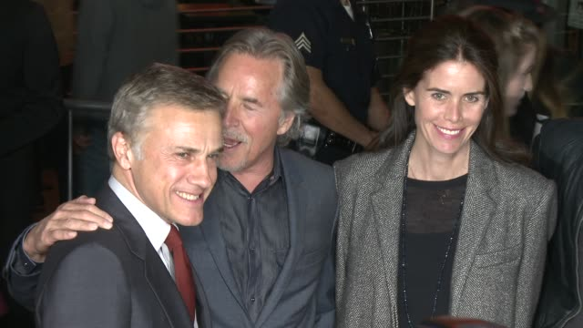 christoph waltz and don johnson at the hateful eight world premiere at arclight cinemas on december 07 2015 in hollywood california - 2015 video stock e b–roll