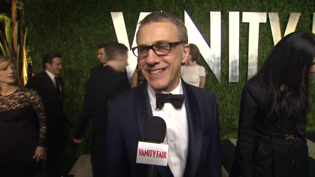 christoph waltz at the 2013 vanity fair oscar party hosted by graydon carter interview - christoph waltz at the 2013 vanity at sunset tower on... - vanity fair oscar party stock videos & royalty-free footage