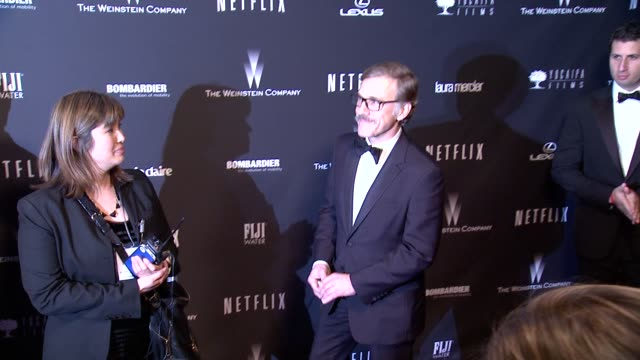 christoph waltz at the weinstein company & netflix 2014 golden globes after party at the beverly hilton hotel on in beverly hills, california. - the beverly hilton hotel点の映像素材/bロール