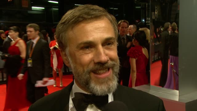 Christoph Waltz on being nominated on working with Quentin Tarantino coming to the awards at the The Orange British Academy Film Awards at London...