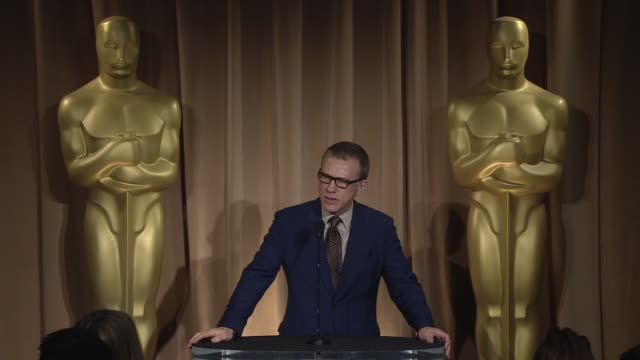 INTERVIEW Christoph Waltz on celebrating his nomination and on working with Quentin Tarantino at the 85th Academy Awards Nominations Luncheon in...