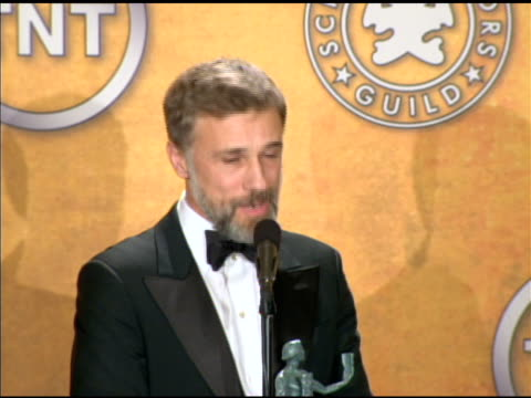 Christoph Waltz on what goes through his mind when accepting an award at the 16th Annual Screen Actors Guild Awards Press Room at Los Angeles CA