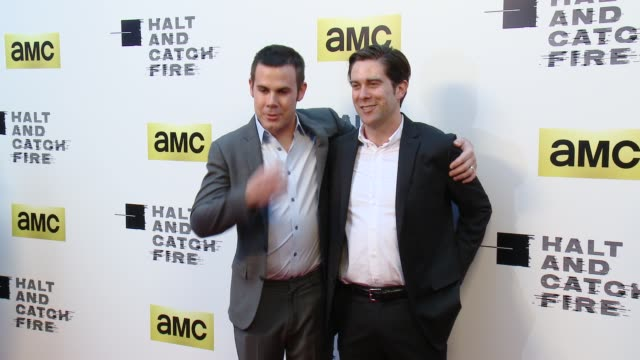 vídeos de stock, filmes e b-roll de christopher cantwel and christopher c rodgers at amc's halt and catch fire los angeles premiere at arclight cinemas on may 21 2014 in hollywood... - cinemas arclight hollywood