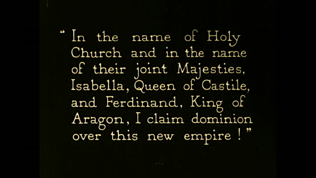 """vidéos et rushes de christopher columbus and his men lands on the short with spanish flags: """"in the name of holy church and in the name of their joint majesties,... - christopher columbus explorateur"""
