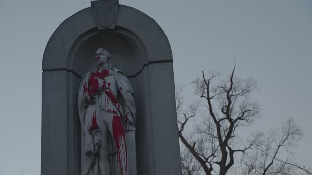 christopher columbus statue is vandalized at druid hill park on january 28, 2021 in baltimore, maryland. there have been over 350,000 confirmed cases... - クリストファー コロンブス点の映像素材/bロール