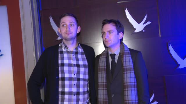 christopher ford and jake schreier at grey goose blue door on january 21, 2012 in park city, utah. - グレイグース点の映像素材/bロール