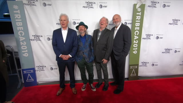 christopher guest harry shearer michael mckean and rob reiner at the this is spinal tap 35th anniversary 2019 tribeca film festival at beacon theatre... - tribeca stock videos & royalty-free footage