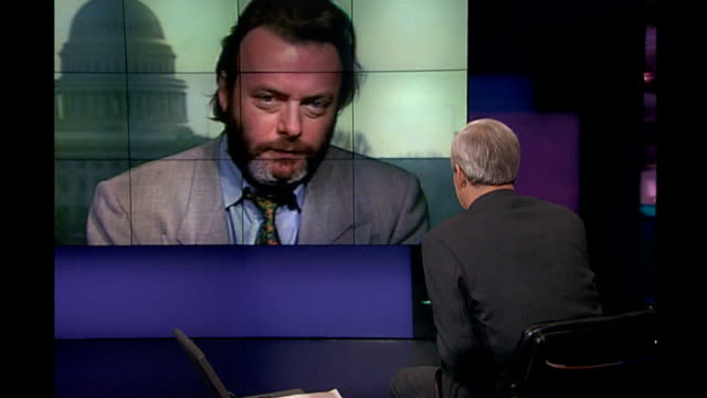 christopher hitchens dies at the age of 62 tx london hitchens during 2way interview from washington - christopher hitchens stock videos & royalty-free footage