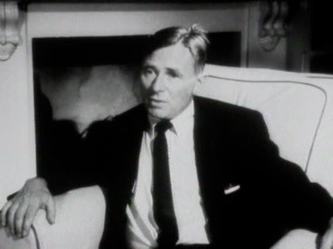 christopher isherwood talks about developing an interest in hinduism and yoga since moving to the united states - philosophy stock videos & royalty-free footage