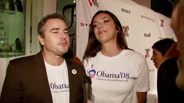 christopher knight and adrianne curry on why it is important to vote, how they do not like george bush, their first experiences voting, and how she... - rock the vote stock-videos und b-roll-filmmaterial