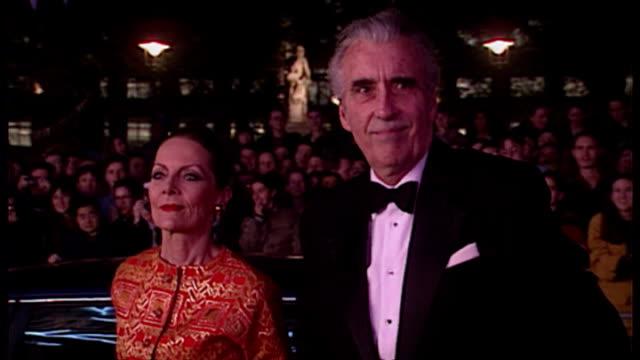 Christopher Lee and wife Birgit Kroencke arriving to film premiere of 'Mary Shelley's Frankenstein'