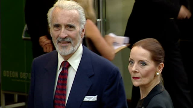 christopher lee and wife birgit kroencke arriving to premiere of planet of the apes - 2001 stock videos & royalty-free footage
