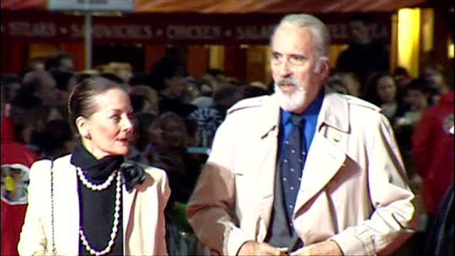 christopher lee and wife birgit kroencke at premiere of 'finding neverland'. - christopher lee actor stock videos & royalty-free footage