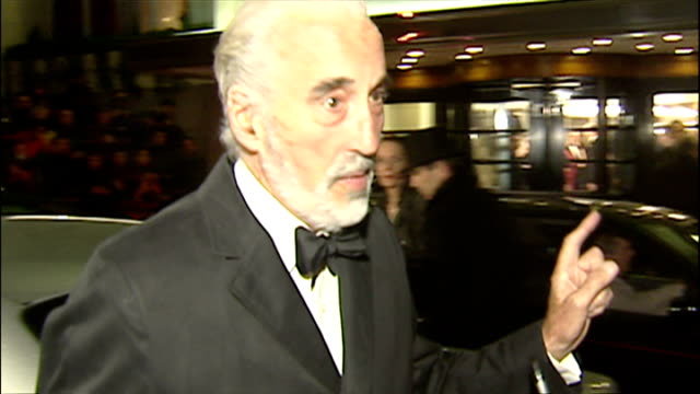 christopher lee arriving for the evening standard awards. - christopher lee actor stock videos & royalty-free footage