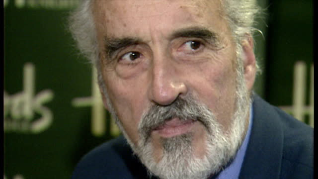 christopher lee at book launch for 'tall, dark, and gruesome' at harrods. - christopher lee actor stock videos & royalty-free footage
