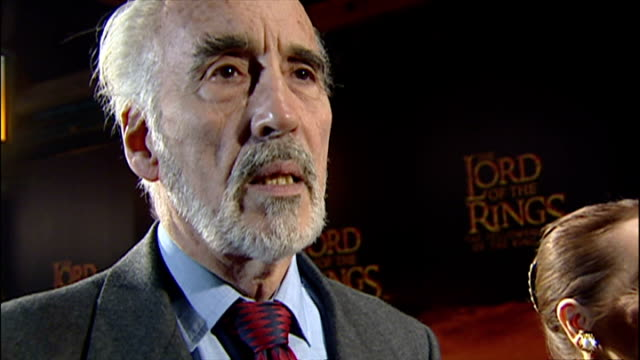 christopher lee being interviewed on the red carpet at the premiere of 'lord of the rings'. - christopher lee actor stock videos & royalty-free footage