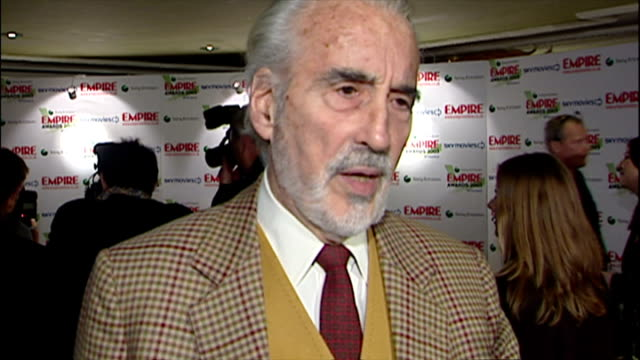 christopher lee giving interview about 'lord of the rings' at the empire movie awards red carpet. - christopher lee actor stock videos & royalty-free footage