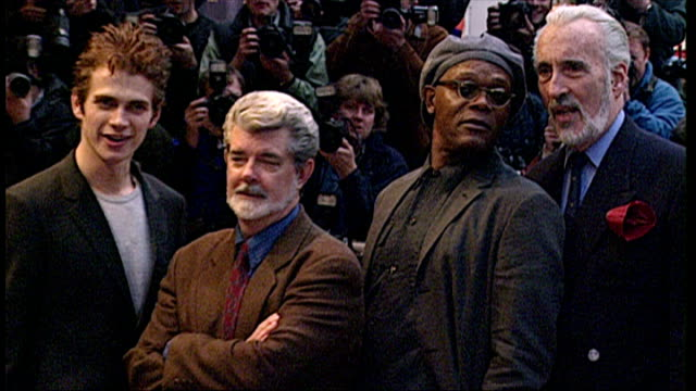 Christopher Lee Hayden Christensen George Lucas and Samuel L Jackson at premiere of Star Wars Episode II Attack of the Clones
