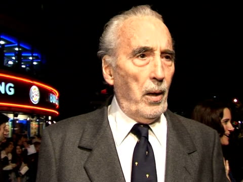 christopher lee on his favourite actor and director at the 'corpse bride' london premiere on october 17, 2005. - christopher lee actor stock videos & royalty-free footage