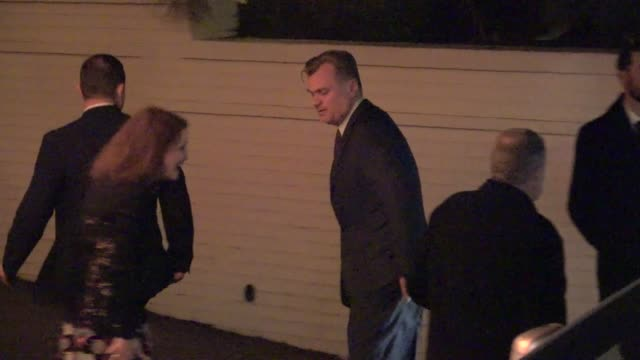 christopher nolan arrives at vanity fair's call me by your name party at chateau marmont in west hollywood in celebrity sightings in los angeles - call me by your name stock videos & royalty-free footage