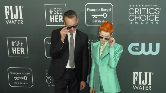 christopher peterson and sandy powell at the 25th annual critics' choice awards at barker hangar on january 12 2020 in santa monica california - gif stock videos and b-roll footage