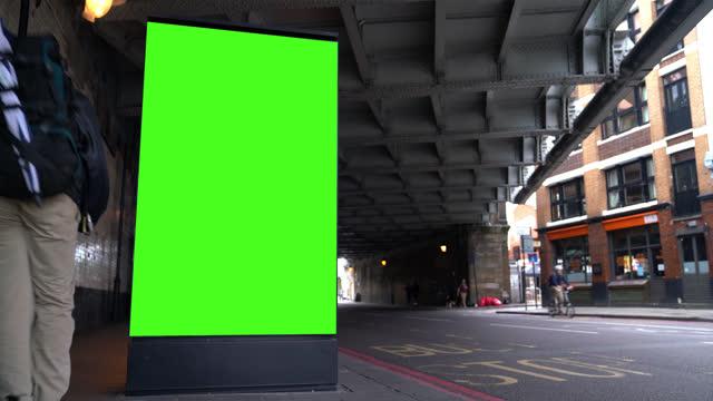 chroma key billboard on the street in london - double decker bus stock videos & royalty-free footage