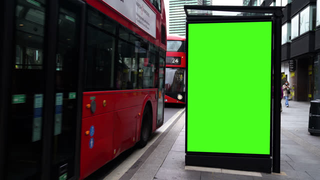 chroma key billboard on the street in the daytime - advertisement stock videos & royalty-free footage