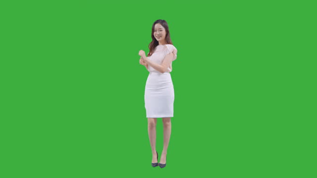 chroma key - dancing young woman - full length stock videos & royalty-free footage