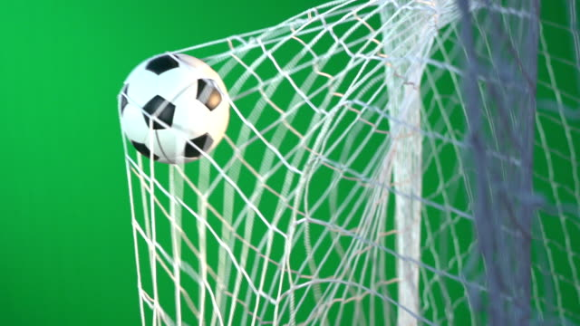 chroma key green screen -  soccer ball - goal / football being scored in net - super slow motion - net sports equipment stock videos and b-roll footage