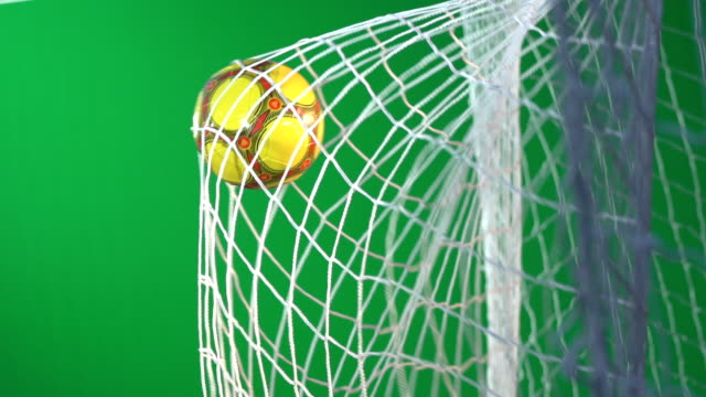 chroma key green screen -  soccer ball, scoring football goal in net - super slow motion - soccer goal stock videos and b-roll footage