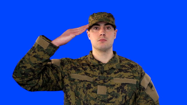chroma key of male soldier saluting - saluting stock videos & royalty-free footage