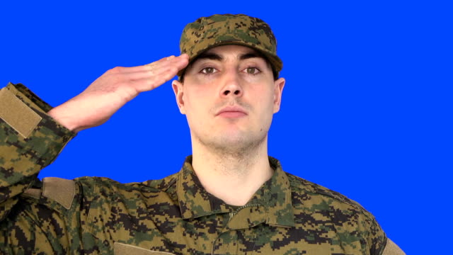 Chroma Key of Male Soldier Saluting
