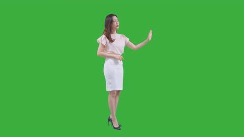 chroma key - young woman giving guidance with hand sign and greeting - presenter stock videos & royalty-free footage