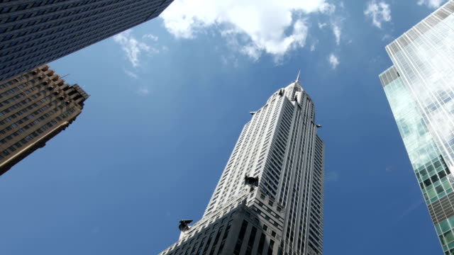 chrysler building and reflections, new york city - chrysler building stock videos & royalty-free footage